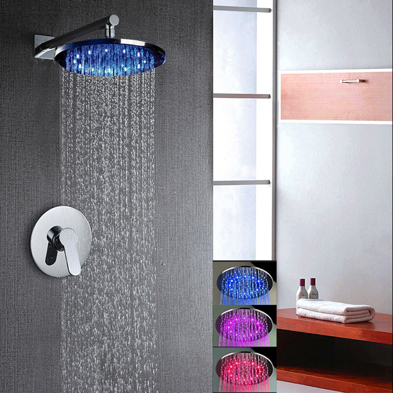 Buy Palouse Wall Mount LED Rain Shower System With Rainfall Shower Head  With Led Lights U0026