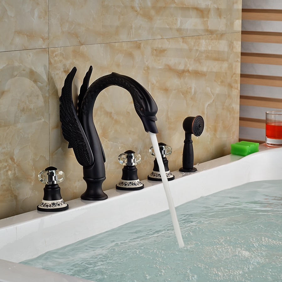 kanim swan shaped 5 hole oil rubbed bronze bath tub faucet with crystal handle u0026 hand