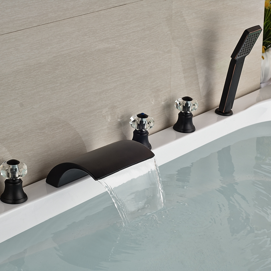 Kautz Luxury 5 Hole Deck Mount Oil Rubbed Bronze Waterfall Bathtub