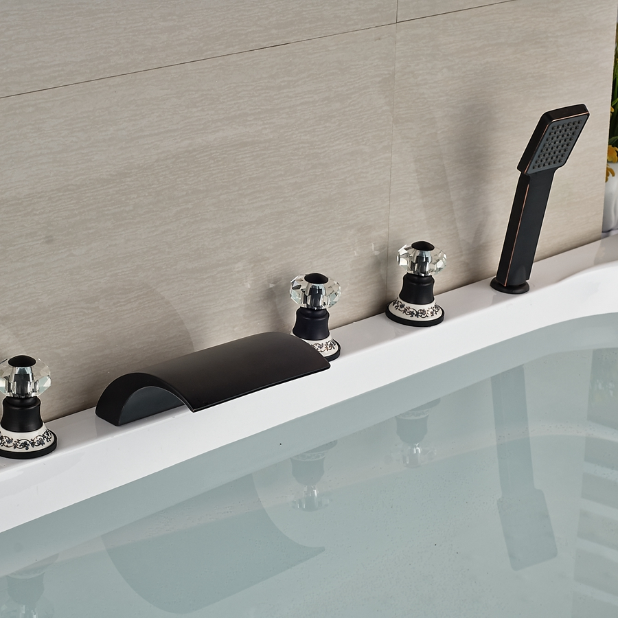 Kautz Luxury 5 Hole Deck Mount Oil Rubbed Bronze Waterfall Bathtub ...