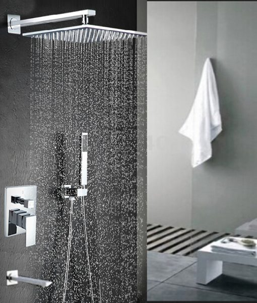 Malachite Wall Mount 12 Inch Rainfall Shower Head with Hand Held Shower, Tub spout & Mixer Valve 3
