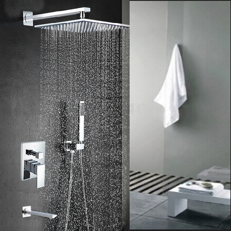 Malachite Wall Mount 12 Inch Rainfall Shower Head with Hand Held ...
