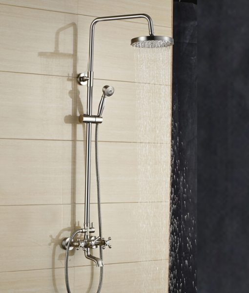 Mazama 8 Inch Wall Mount Brushed Nickel Rain Shower Head with Hand Held Shower & Hot Cold Mixer Tap