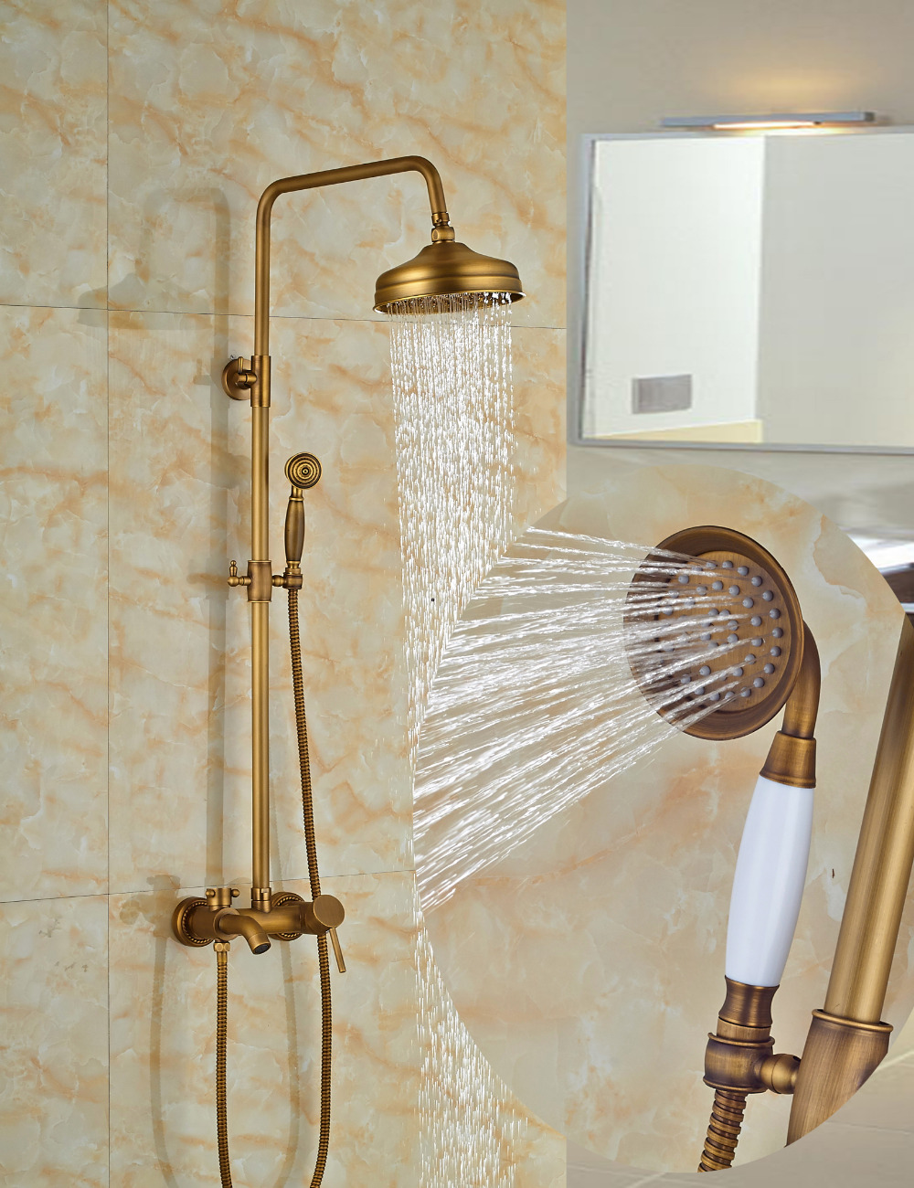 Nellie Antique Brass Shower Set With 8 Inch Rain Head Handheld