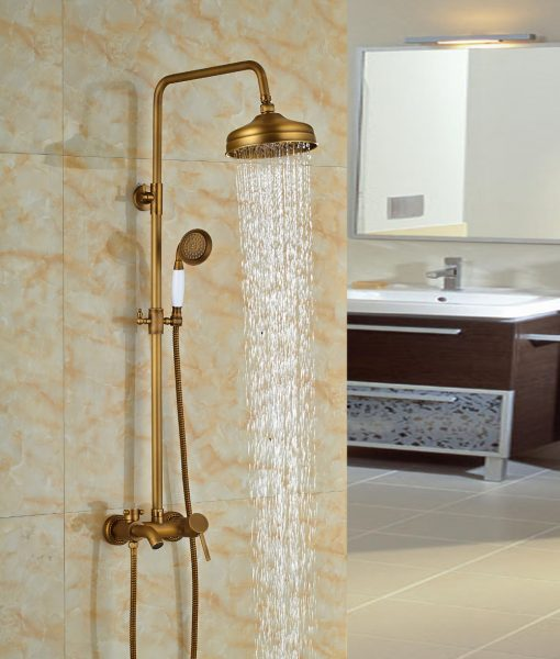 Nellie Antique Brass Shower Set with 8 Inch Antique Brass Rain Shower Head, Handheld Shower, Tub Spout & Hot Cold Mixer Valve