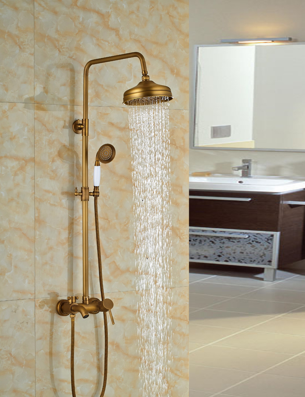 Nellie Antique Brass Shower Set With 8 Inch Antique Brass