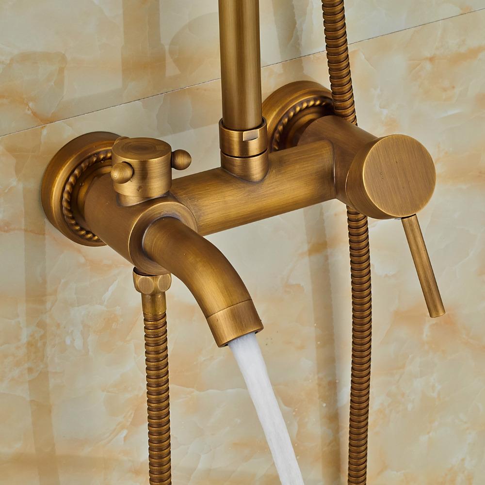 Nellie Antique Brass Shower Set With 8 Inch Antique Brass