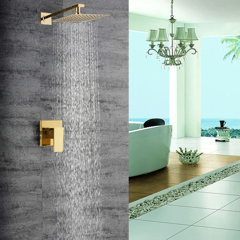 nooksack wall mount exposed rainfall shower system with luxury gold rain shower head single handle - Luxury Rain Showers