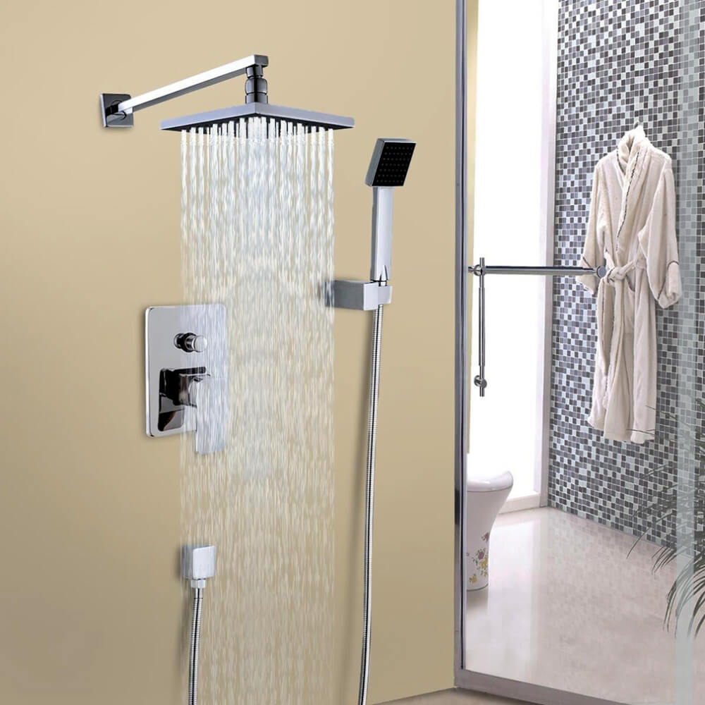 Cindy Bathroom Luxury Rain Mixer Shower Combo Set Wall